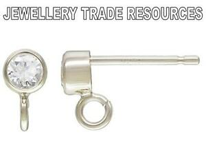 STERLING SILVER EARRING EAR POST 3mm BEZEL SET CZ CRYSTAL /& RING DROPPER STUDS