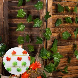 Artificial-Ivy-Fake-Garland-Plant-2-4M-Leaf-Foliage-Red-Flower-Vine-Home-Decor