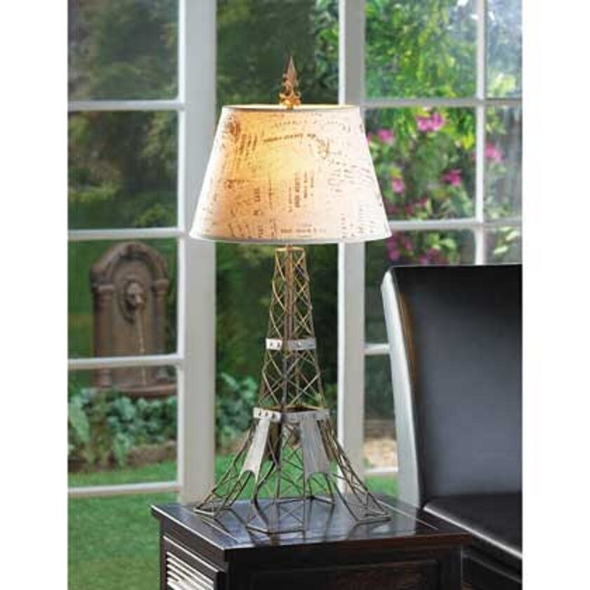 french country Eiffel tower wire metal bedside end Table Lamp night light shade