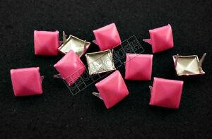 50pcs-11mm-Hot-Pink-Pyramid-studs-Punk-ROCK-Biker-Spikes-spots-EMO-Brads-S811