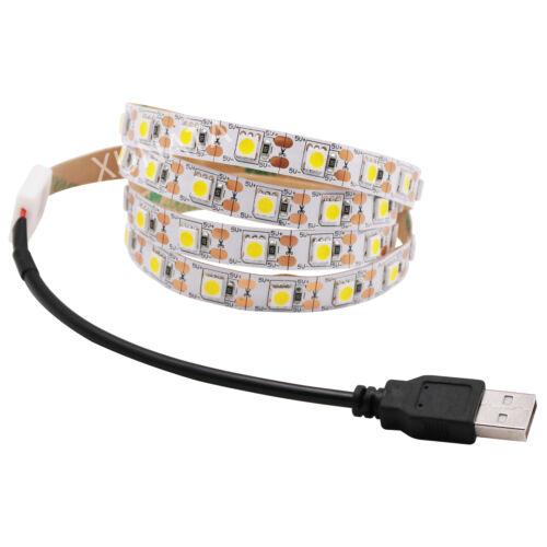 DC5V USB SMD 5050 LED Strip Light White TV Backlight Self Adhesive Flexible Lamp