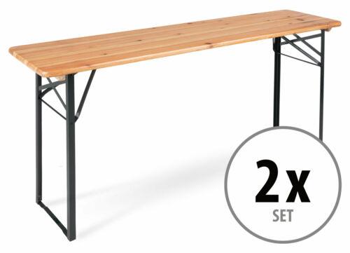 2x Set Biertisch Klappbar Campingtisch Holz Natur Bierzelttisch Klapptisch Lang