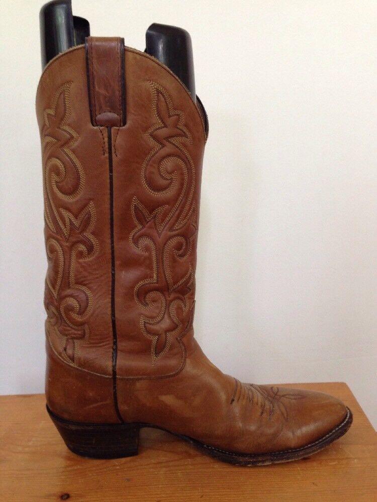 Genuine Justin Brown Brown Justin Embroidered Pelle Western Work Cowboy Stivali 9D 42.5 9908af