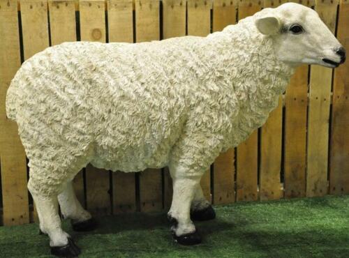 Garden Home Ornament Statue Full Size /& Small White Resin Sheep Ram Metal