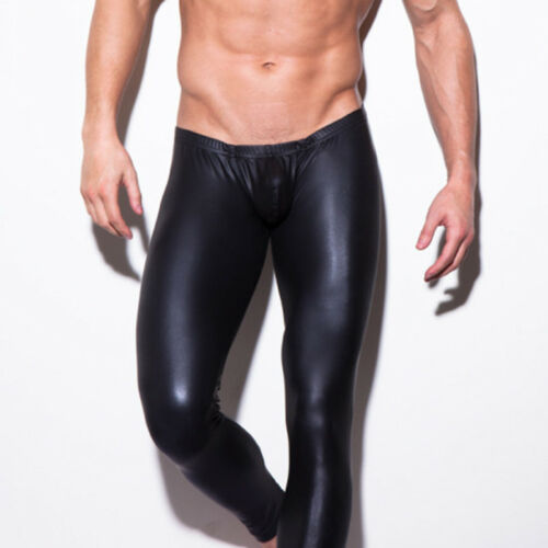 55f7345113ed Men's Faux Leather Skinny Pants Latex Streath Leggings Gay Trousers Clubwear