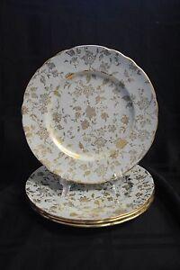 Royal-Chelsea-Sage-Green-Gold-Gilt-Chintz-Pattern-Set-of-4-Round-Dessert-Plate