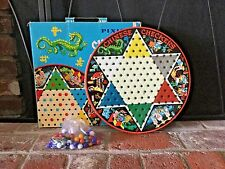 VTG Pixie Tin Chinese Checkers Game Board  IOB Complete W/Marbles Great Graphics