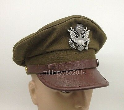 WWII WW2 US ARMY AIR FORCE AAF OFFICER CAP EAGLE BADGE HAT CAP L