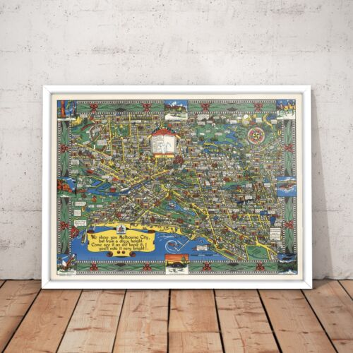 Melbourne City Print Vintage Landmark Art Poster A4 to A0 Framed