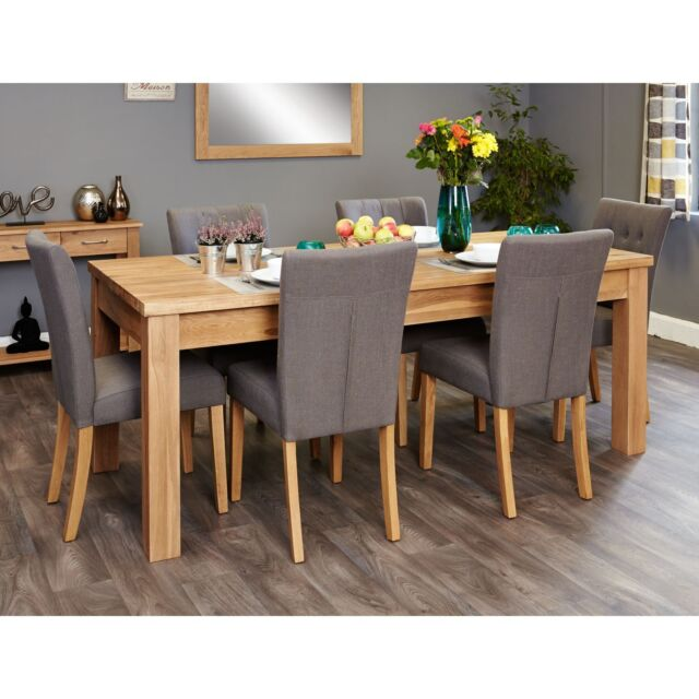 Mobel Solid Modern Oak Furniture Extending Dining Table And Six Slate Chairs Set For Sale Online Ebay