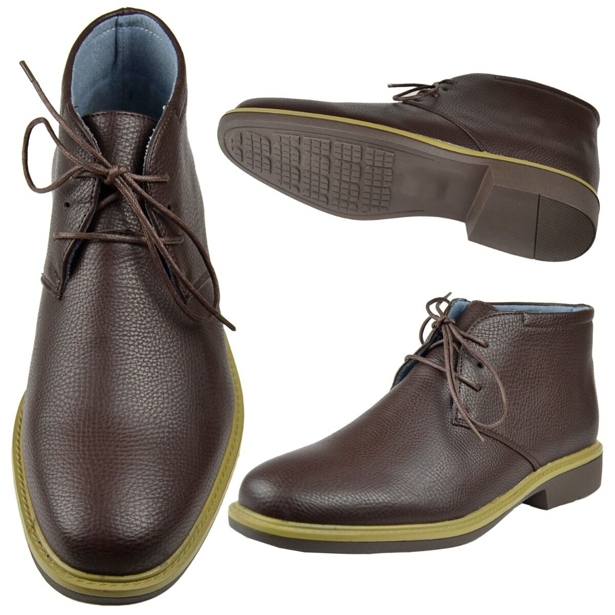 Mens Lace Up High Top Chukka Ankle Booties Faux Leather Casual Oxfords shoes