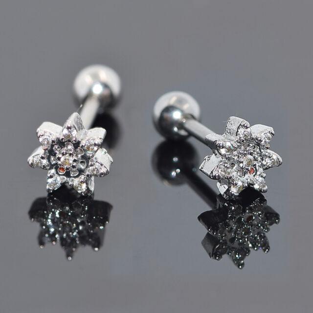 Pair Stainless Steel CZ Flower Earring Ear Stud Cartilage Helix Tragus Piercing
