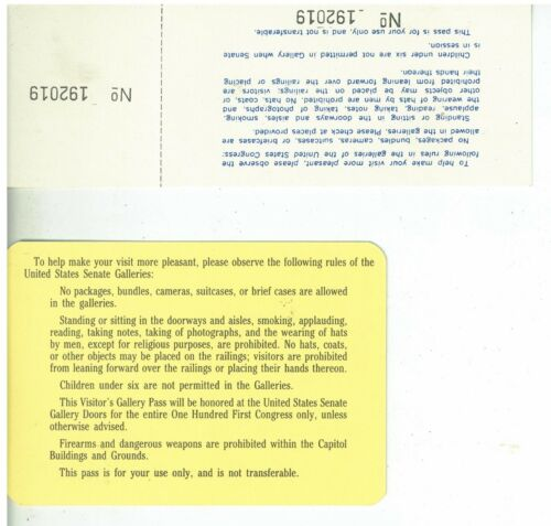 1969 Pass to the United States Senate Chambers Signed WI Rep Bob Kastan