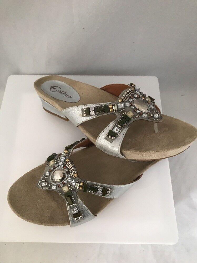 Earthies Lazeretta Slide Distressed Sandal Flip Flops Size 10M Silver Distressed Slide  Leder 6b279d