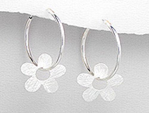 "1/"" CUTE Daisy Solid Sterling Silver Endless Hoop Earrings 2.7g"
