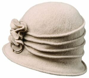 New-Scala-Women-039-s-Boiled-Wool-Cloche-Hat-with-Flower-LW497