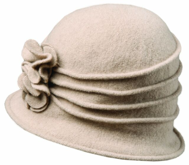 923c3819ad8 New Scala Women s Boiled Wool Cloche Hat with Flower (LW497)
