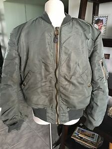 f45cfab3525 RARE! 1950s Gray USAF MA-1 FLIGHT JACKET US Air Force Mil. Uniform ...