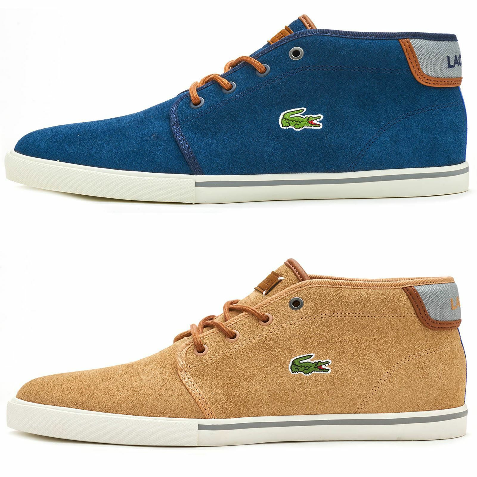Lacoste Ampthill Chukka Ankle Suede Winter Boots High Top Trainers bluee & Brown