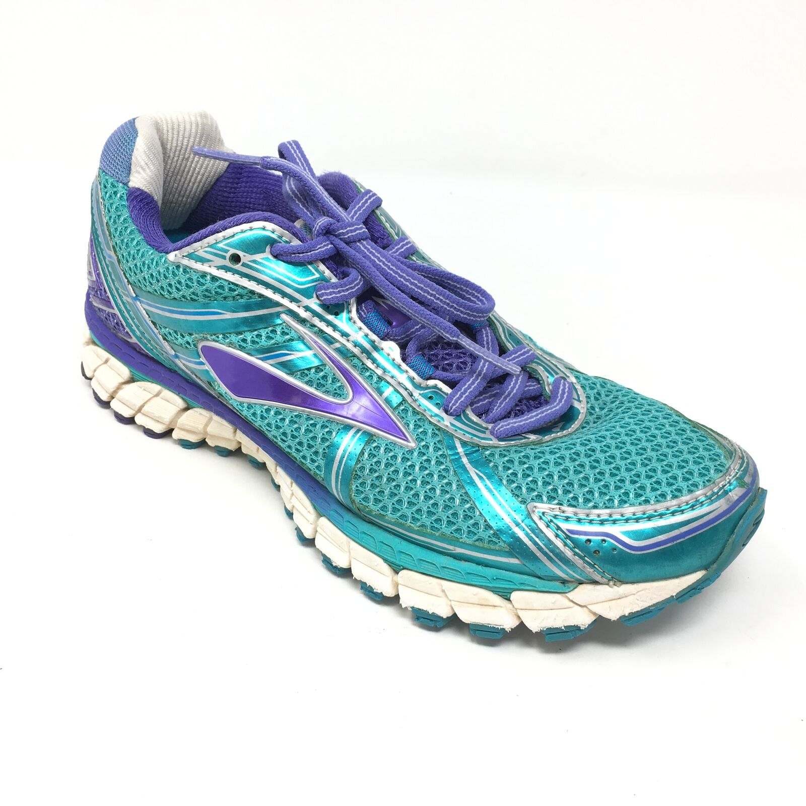 Women's Brooks GTS-15 shoes Sneakers Size 7B Running Teal Purple White AE14