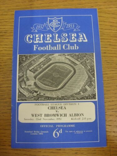 22111952 Chelsea v West Bromwich Albion folded, rusty staples. Condition L