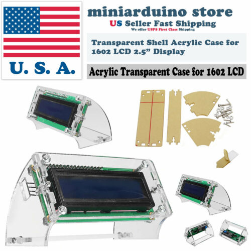 LCD1602 Transparent Acrylic LCD Shell for 2.5/'/' 1602 yellow//blue Enclosure Case