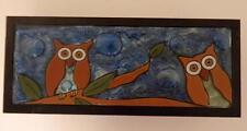 Owl Fused Art Glass Rectangular Wood Jewelry Storage Trinket Box Ecuador