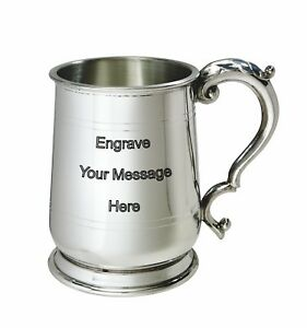NEW-Personalised-1-Pint-Jacobean-Polished-Pewter-Tankard-Any-Message-Engraved