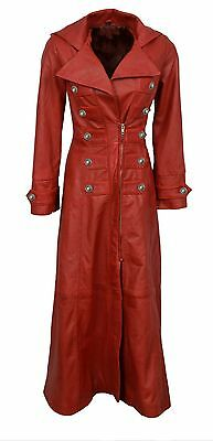 Ladies Real Red Nappa Sheep Lambs Leather Steampunk Goth Style Trench Coat