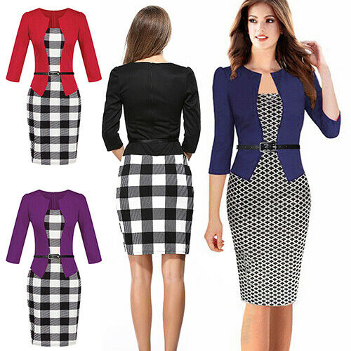 HN Women Business Office Work Formal Party Belt Bodycon Sheath Pencil Dress Sig
