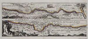 Antique-map-Der-Lech-Fluss-von-Fuessen-im-Algow-an-bis-zu-seinen-Auslauff