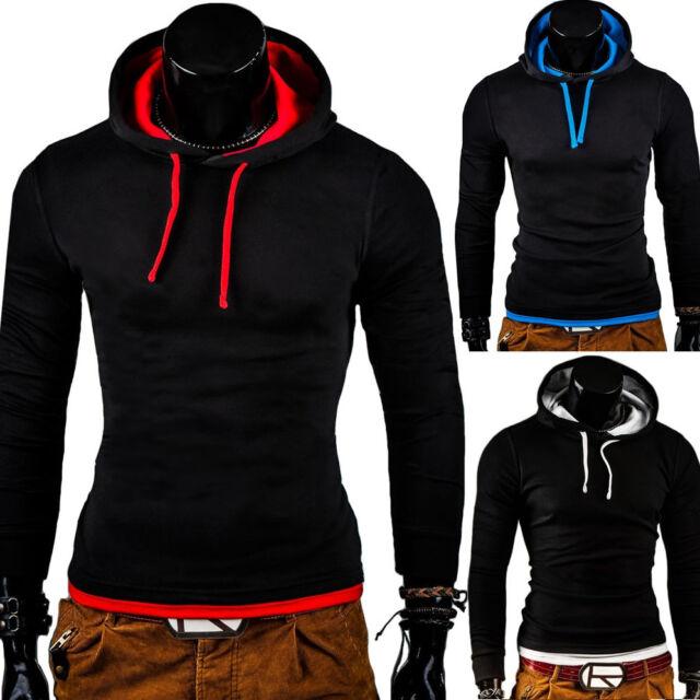 G.B.D. Hoodie Kapuzen-Pullover Longsleeve T-Shirt Polo Schwarz/Grau/Blau/Rot NEU