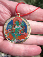 COLORFUL BELOVED GREEN TARA & HER MANTRA TIBETAN BUDDHIST PENDANT NECKLACE NEW