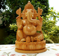 "8"" Wooden GANESH Statue Hand Carved Hindu Elephant God GANESHA India Brown Lord"