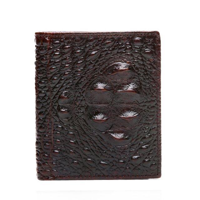 100/% Genuine Neck Skin Crocodile Alligator Bifold Leather Mens Coffee Wallet