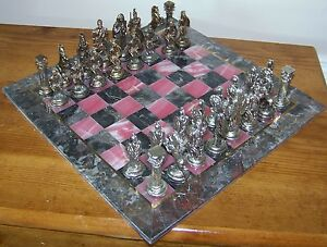 14 Quot Gray Marble Amp Pink Onyx Board With Metal Ancient Roman
