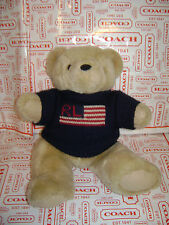 "POLO RALPH LAUREN 1996 TEDDY BEAR PLUSH STUFFED  15"" BROWN BLUE KNIT SWEATER RL"