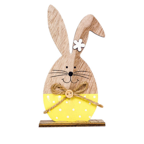 Easter Rabbit Shapes Wooden Decorations Home Ornaments Craft Wood Supplies Gift