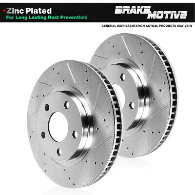 Front Drill Slot Brake Rotors /& Carbon Ceramic Pads For 2000 2001 Ram 1500 2WD