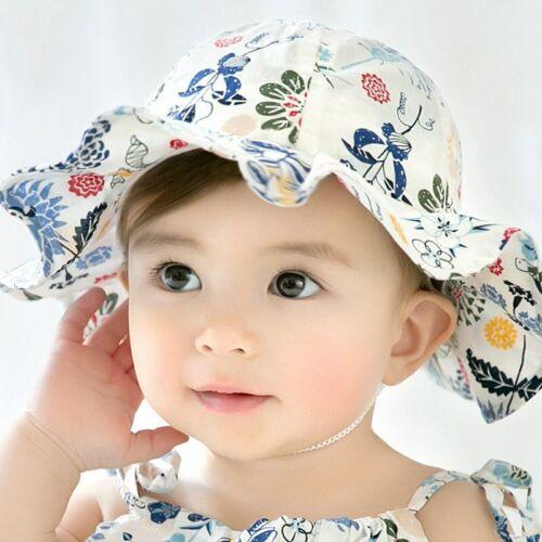 Baby Bucket Hat Flower Print Cap Girls Kids Summer Outdoor Sun Hat Fishing Cap