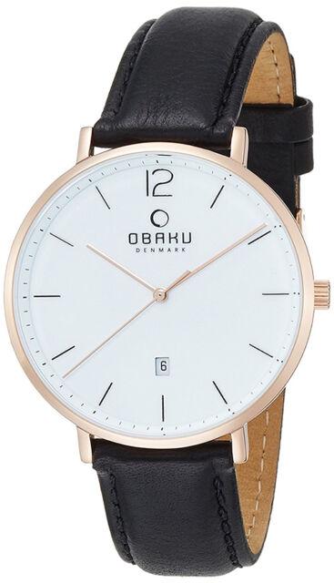 Obaku Herren Toft rotgold Farbe Edelstahl schwarz Leder Uhr V181GDVWRB