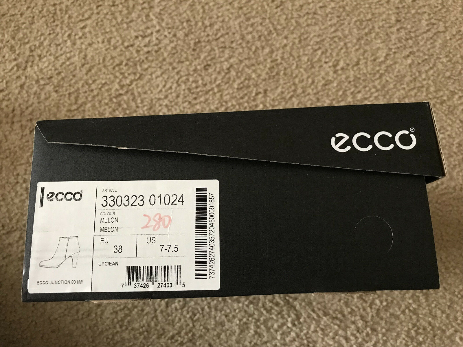 NIB ecco JUNCTION boot 80mm platfrom ankle boot JUNCTION MELON EU38/US7-7.5 c81090