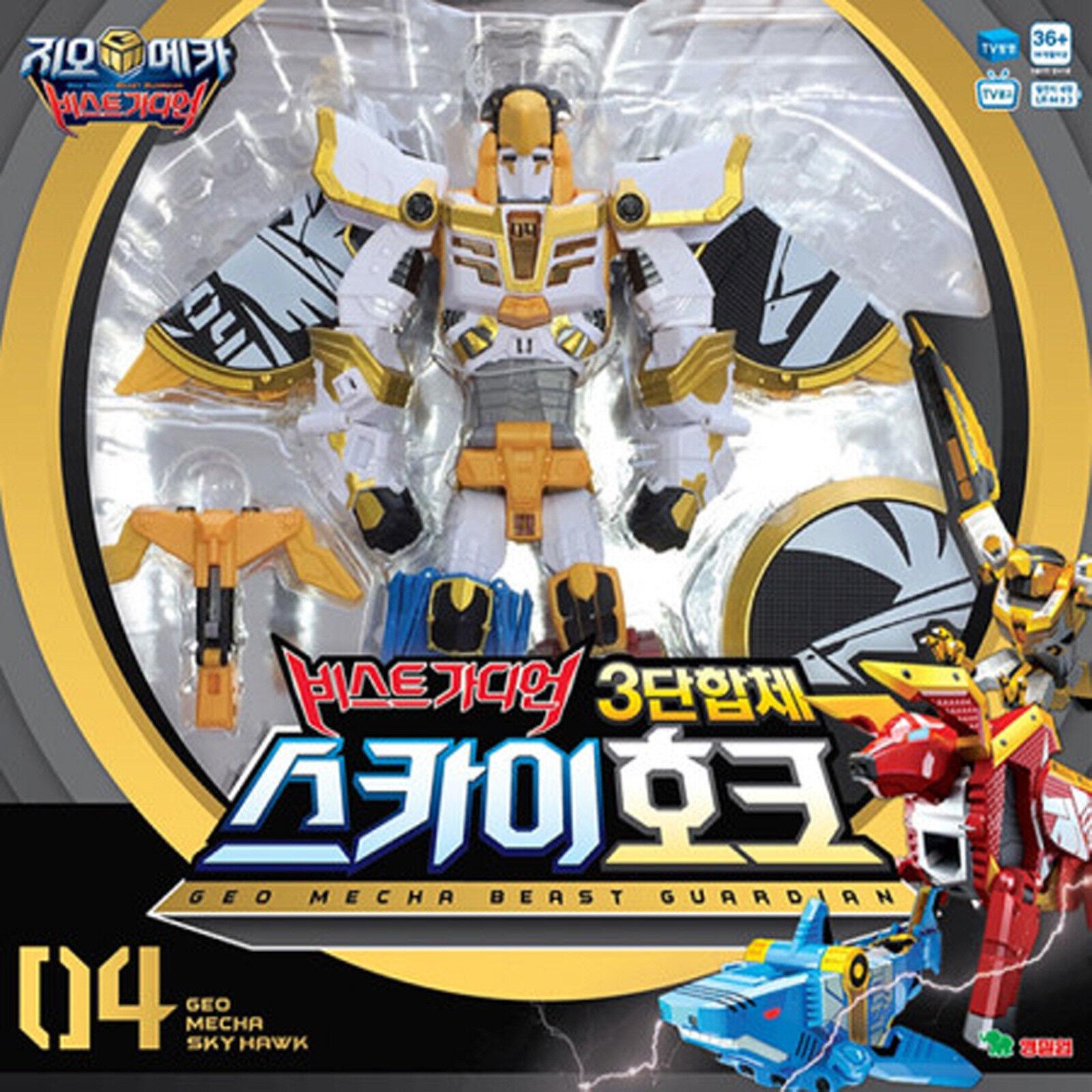 Geo Mecha Beast Guardian SKY HAWK - 3  x Transformer Copolymer Robot Korean Toys  chaud