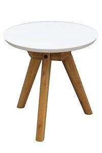Beistelltisch Dakota Tisch Couchtisch Rund Klein Weiss Pappel
