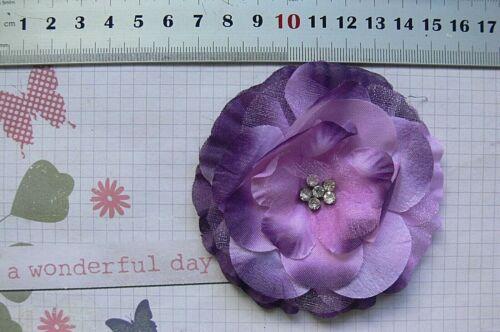 GRAPE PURPLE 50-95mm Fabric Organza Satin 9 Flower Style Choice Ea FC NJC