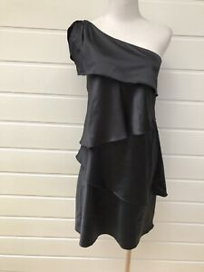 VERY-VERY-Black-Satin-One-Shoulder-Tiered-Cocktail-Party-Dress-Size-10