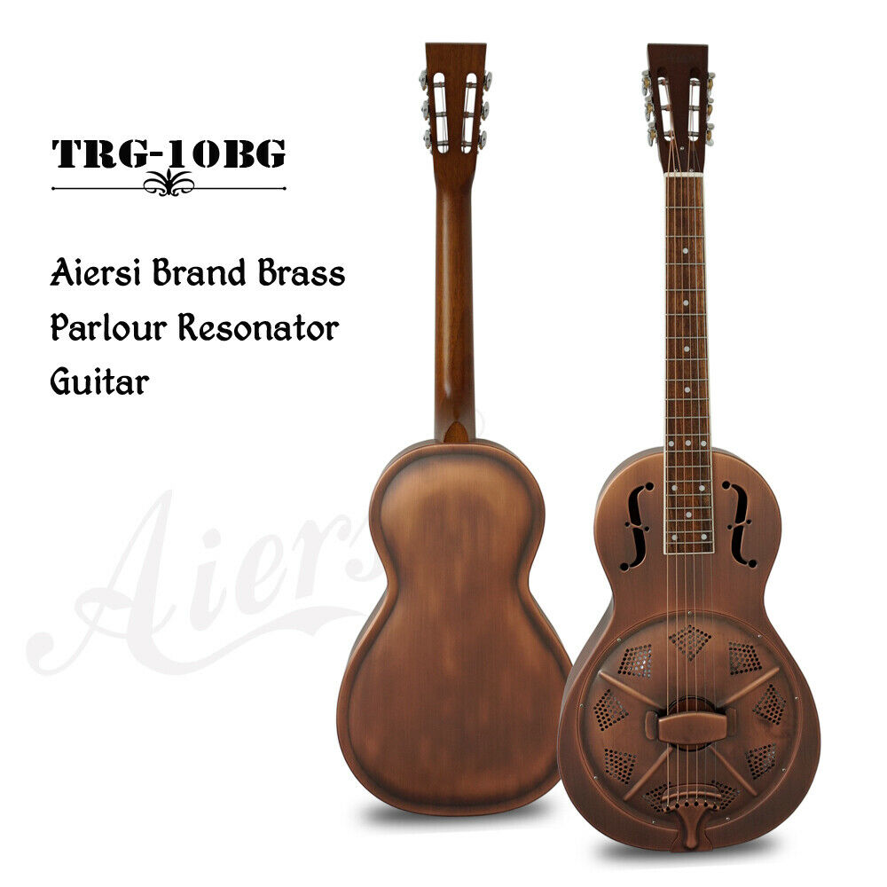 Airsi Vintage Copper Finish F Hole Parlor Resonator Gitarre