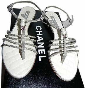 8ba1d1a7de7 Chanel Flat Leather Thong Sandal Cc Logo Crystals Pearls Sandal Shoe ...