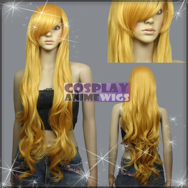 100cm Golden Blonde Heat Styleable Curly Wavy Long Cosplay Wigs N_953