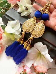 1 Pair Latest Indian Gota Flower Gold Bead Tassel Latkan Sari Blouse Dupatta